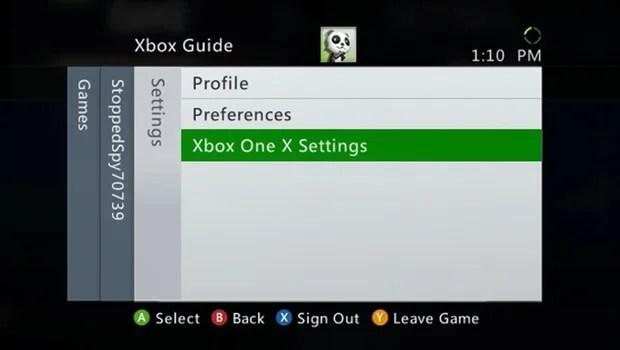 Xbox One X Settings Screen shot 1