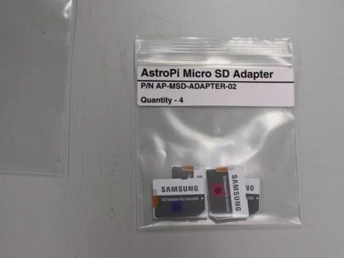 Micro SD cards in bag — Astro Pi upgrades