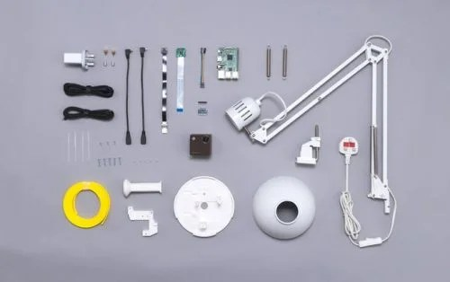 components of Lantern Raspberry Pi powered augmented reality projector lamp