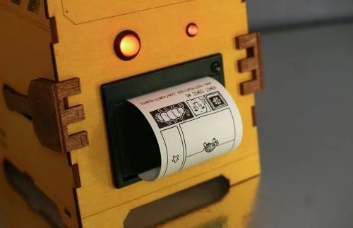 Comic Vomit Robot Cadin Batrack's Raspberry Pi comic-generating thermal printer machine