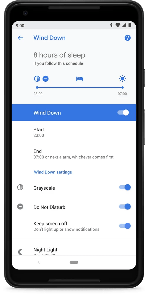 android 9 digital wellbeing - wind down