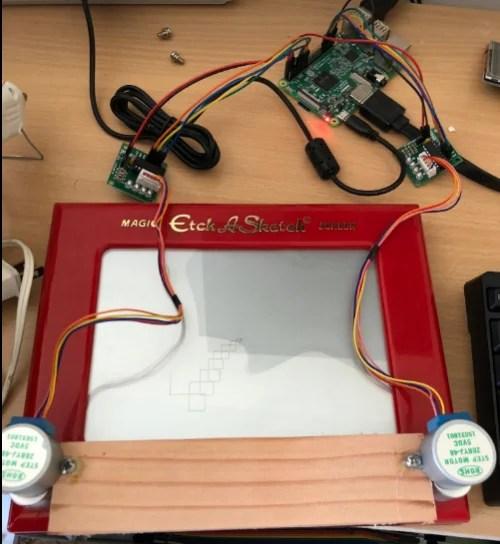 Etch a Sketch modded with a Raspberry Pi