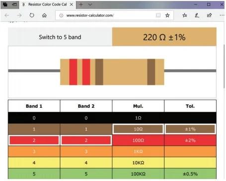 A screenshot of resistor-calculator website