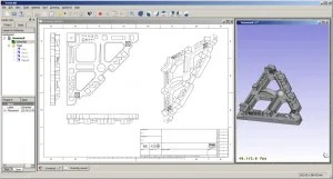 Extracting a 2D drawing to create a 3D model in FreeCAD (source: Freecadweb.org)