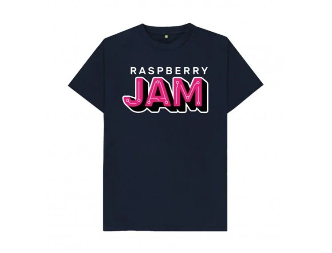 A Raspberry Jam t-shirt - black, with the logo on the front