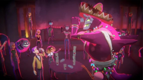 A scene of the two main characters drinking with Satan in the video game Afterparty