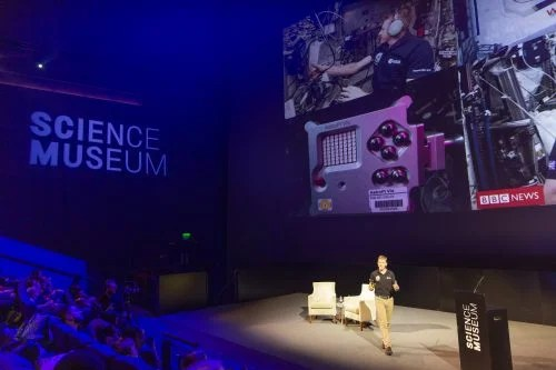 Tim Peake talking about the Astro Pi Challenge at an event at the Science Museum