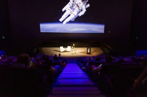 Tim Peake giving a talk at the Science Museum