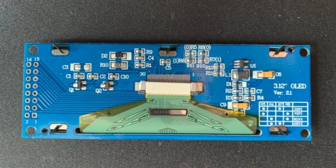 The SSD1322 OLED screen supports different coloured displays and is easy to connect to a Raspberry Pi computer