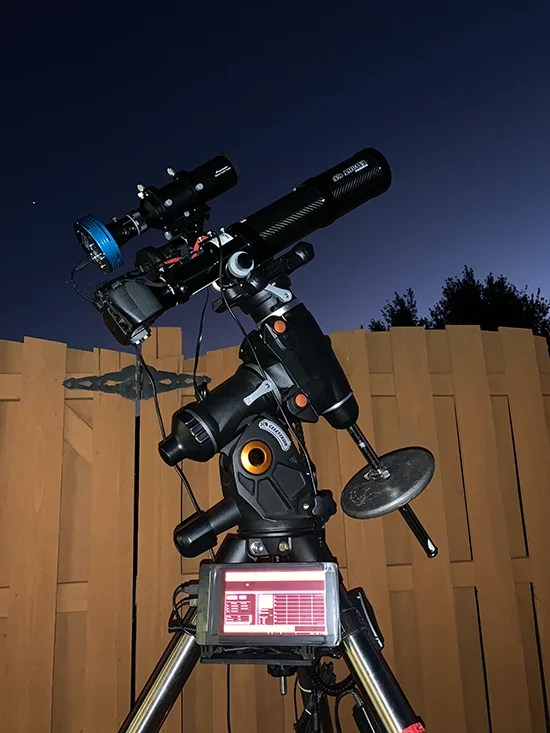The lightweight nature of Joe's astrophotography setup makes it easy to move around