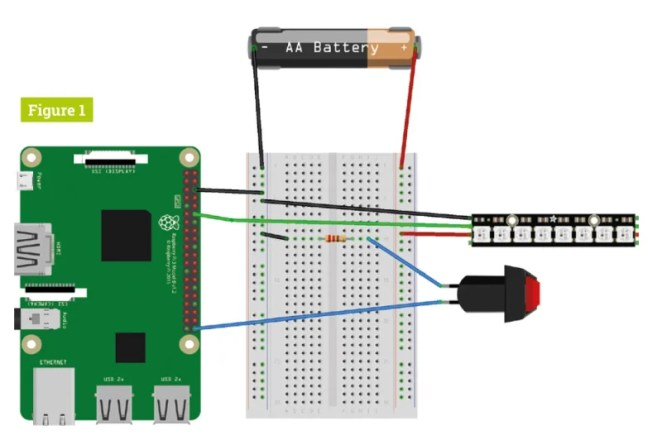 The smart lights circuit is fairly simple – make sure you connect the DIN side of the NeoPixels to your Raspberry Pi
