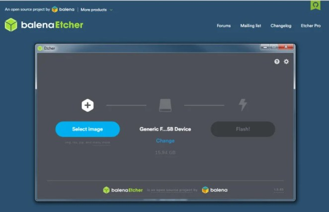 Use balenaEtcher to image your boot file