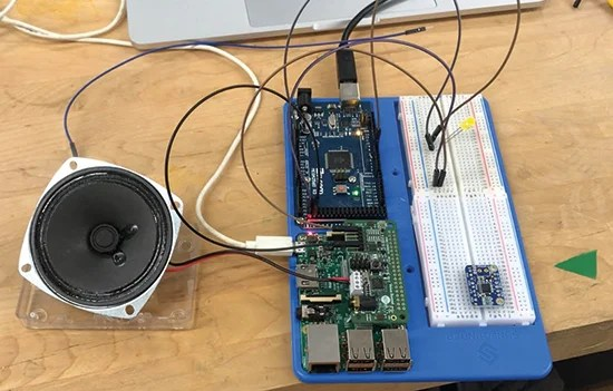 Raspberry Pi hands over to Arduino Mega to control the robot that assembles your tasty snack