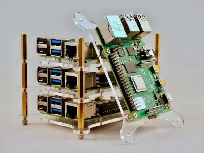 Each Raspberry Pi in the cluster is known as a node and works in parallel with the others to produce faster results than they could individually