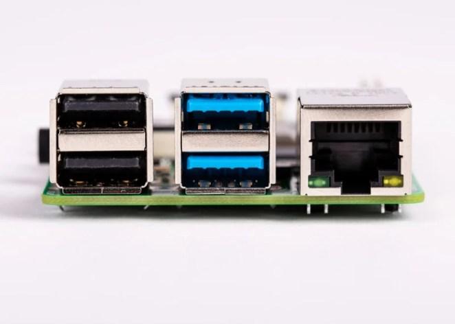 Raspberry Pi 4 USB and Ethernet ports