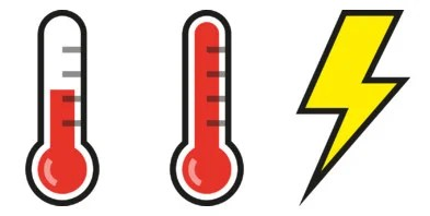 Firmware warning icons: over-temperature (80–85°C); over-temperature warning (over 85°C) and undervoltage