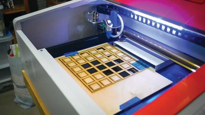 Alex eventually got a laser cutter to help speed up production – like for these mounting grids
