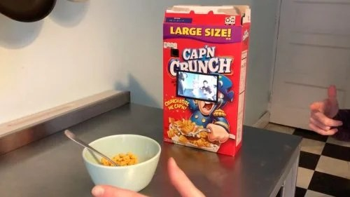 A cereal box with a built in screen