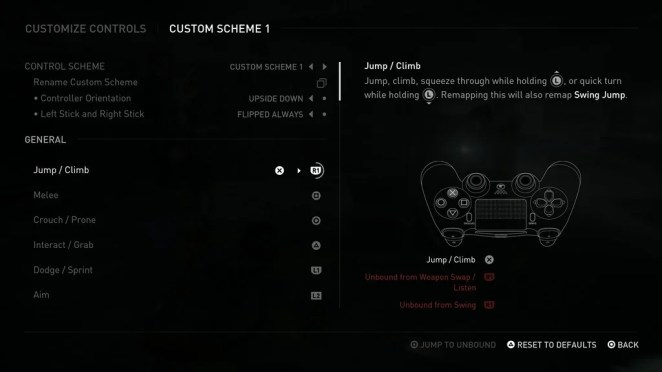 The Last of Us Part II Accessibility Options: Controller Remap Menu
