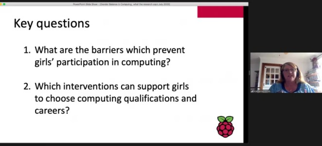 """Screenshot of a presentation about gender balance in computing. Text says: """"Key questions: What are the barriers which prevent girls' participation in computing? Which interventions can support girls to choose computing qualifications and careers?"""""""