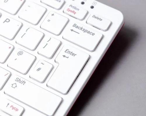 Close-up photo of UK keyboard Enter key