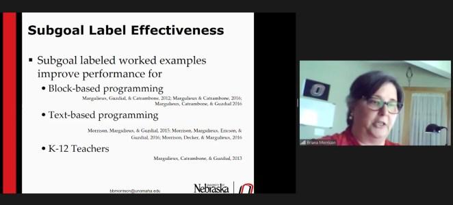 Screenshot of Dr Briana Morrison's research seminar talk