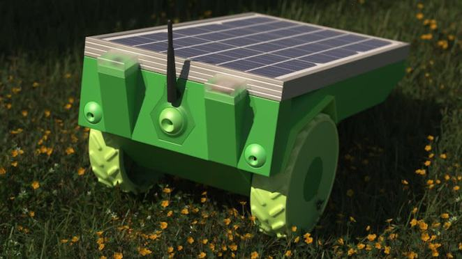 A prototype version of PiMowBot shows off its generous solar panel