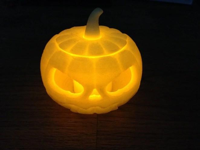 3D printed pumpkin glowing orange