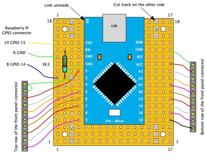 Wiring of the Arduino board