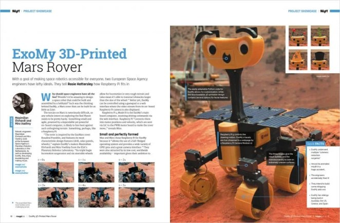 An orange rover robot which looks a bit like a dog with wheels and a cute smiling face