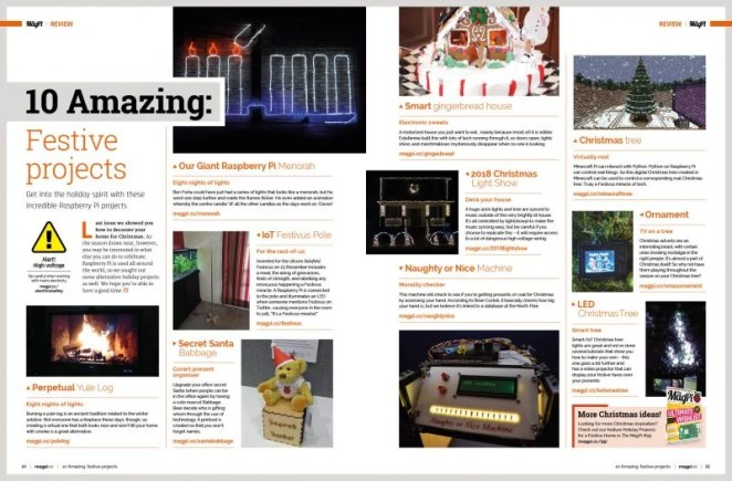 Photos of ten Christmas themed projects and short blurbs linking to longer articles about them