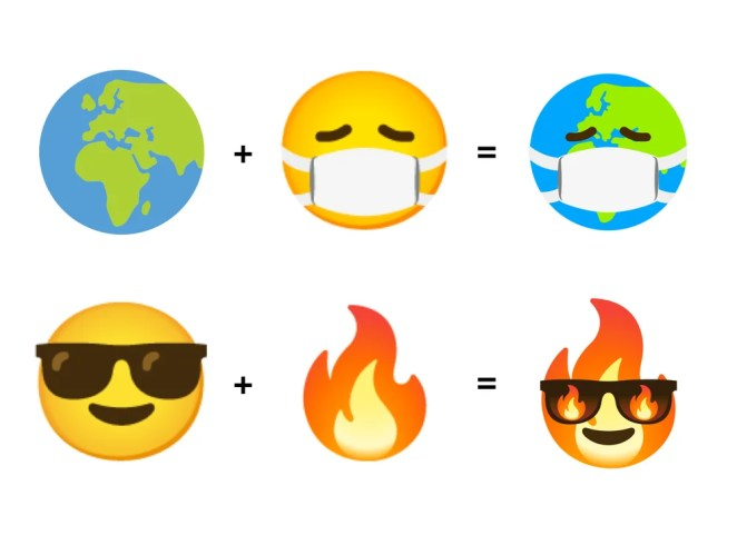 "alt=""A Combine Earth emoji mixed with a Face with Medical Mask emoji creates an emoji kitchen sticker of an earth wearing a mask, and a Smiling Face with Sunglasses emoji mixed with a Fire emoji creates an emoji kitchen sticker of a flame wearing fiery sunglasses"">"