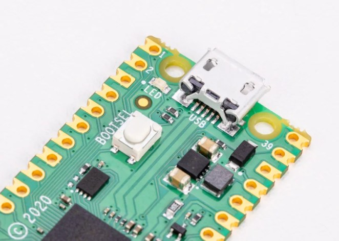 Raspberry Pi Pico has an on-board LED that can be programmed to flash on and off