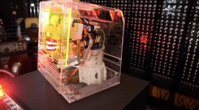 a side view of the entire build with a furby skeleton visible inside