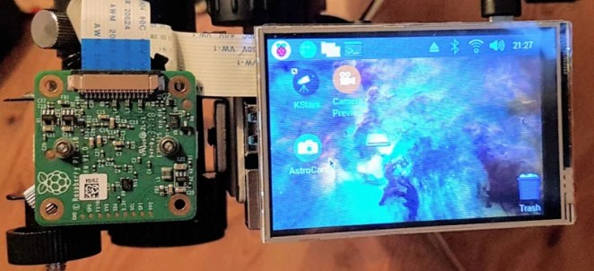 Hubble Pi features a Raspberry Pi 4 and a touchscreen from which image capture can be triggered. The setup can also be accessed using a remote desktop connection