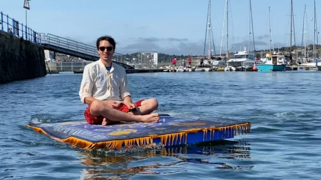 It's a whole new world out in the harbour on a floating rug