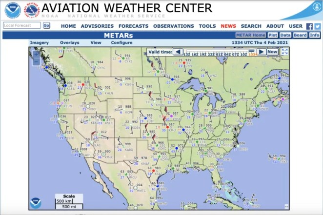 METAR data can be pulled from a site such as aviationweather.gov, which uses familiar airport short codes. Write these codes on the back of your map when attaching your LEDs