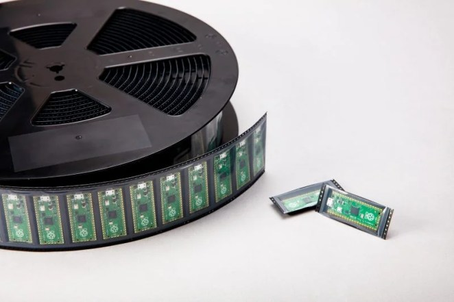 A reel of Raspberry Pi Pico boards