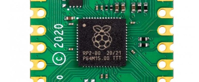 Close up of R P 20 40 chip embedded in a Pico board