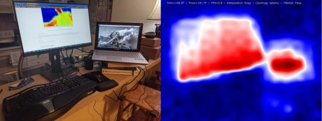 heat map image showing laptop and computer screen in red with surroundings in bluw