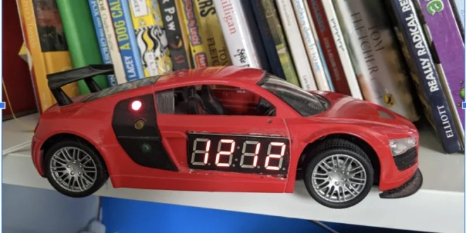 David's first Gro Clock, made for his now seven-year-old son, was installed inside a defunct remote-control car