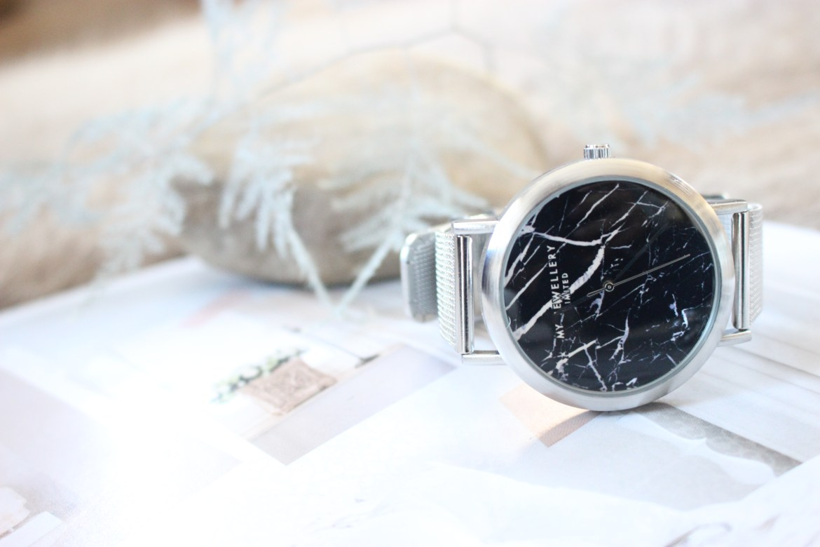 MY JEWELLERY LIMITED WATCH - SILVER BLACK MARBLE