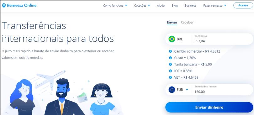 simulação-de-taxas-Remessa-Online