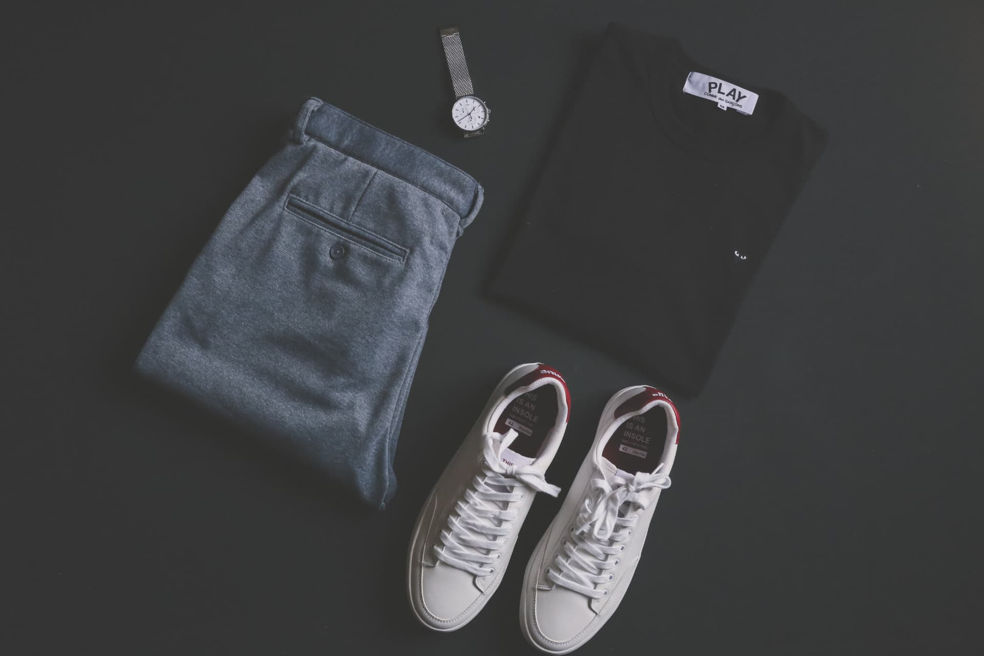 basic clothes in wardrobe
