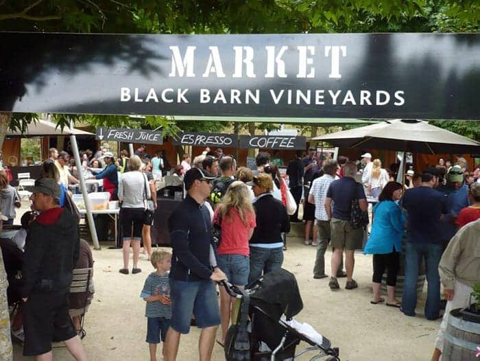 Black barn market entrance