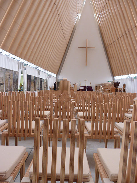 Inside cardboard cathedral Christchurch