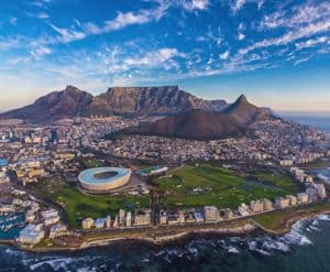 Table Mountain and rugby stadium Cape Town