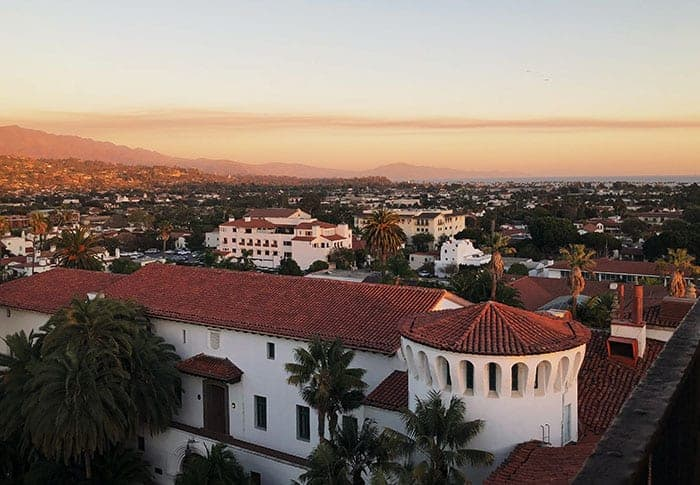 Looking over the rooftops out to the beach in Santa Barbara