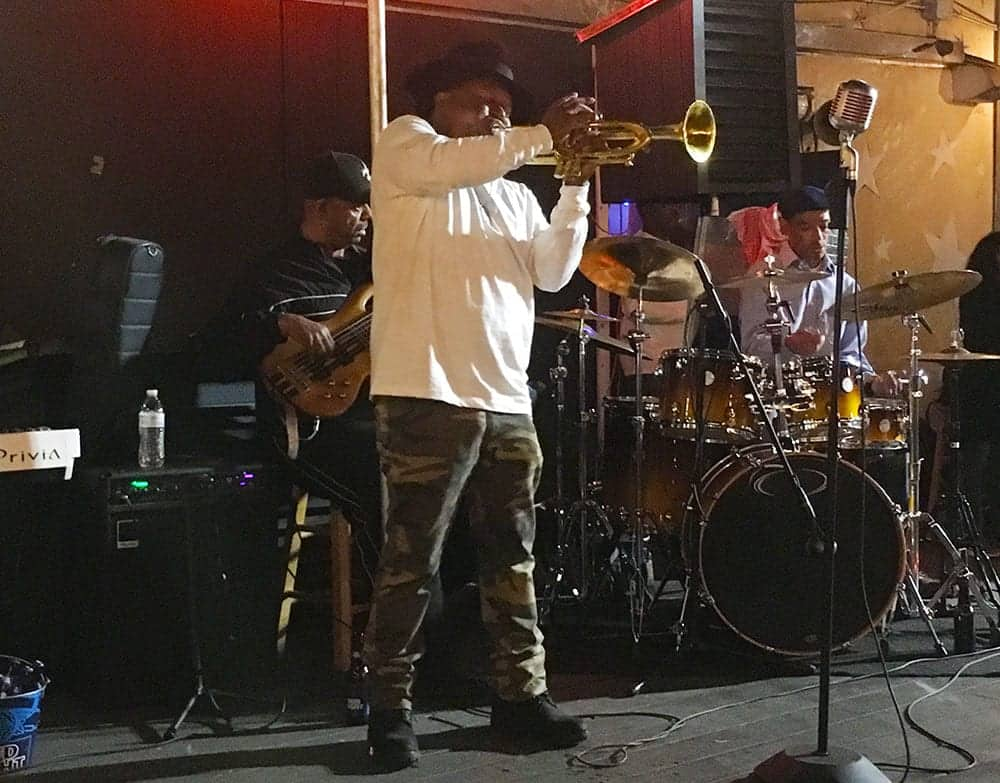 Kermit Ruffins on stage at Mother in Law Lounge