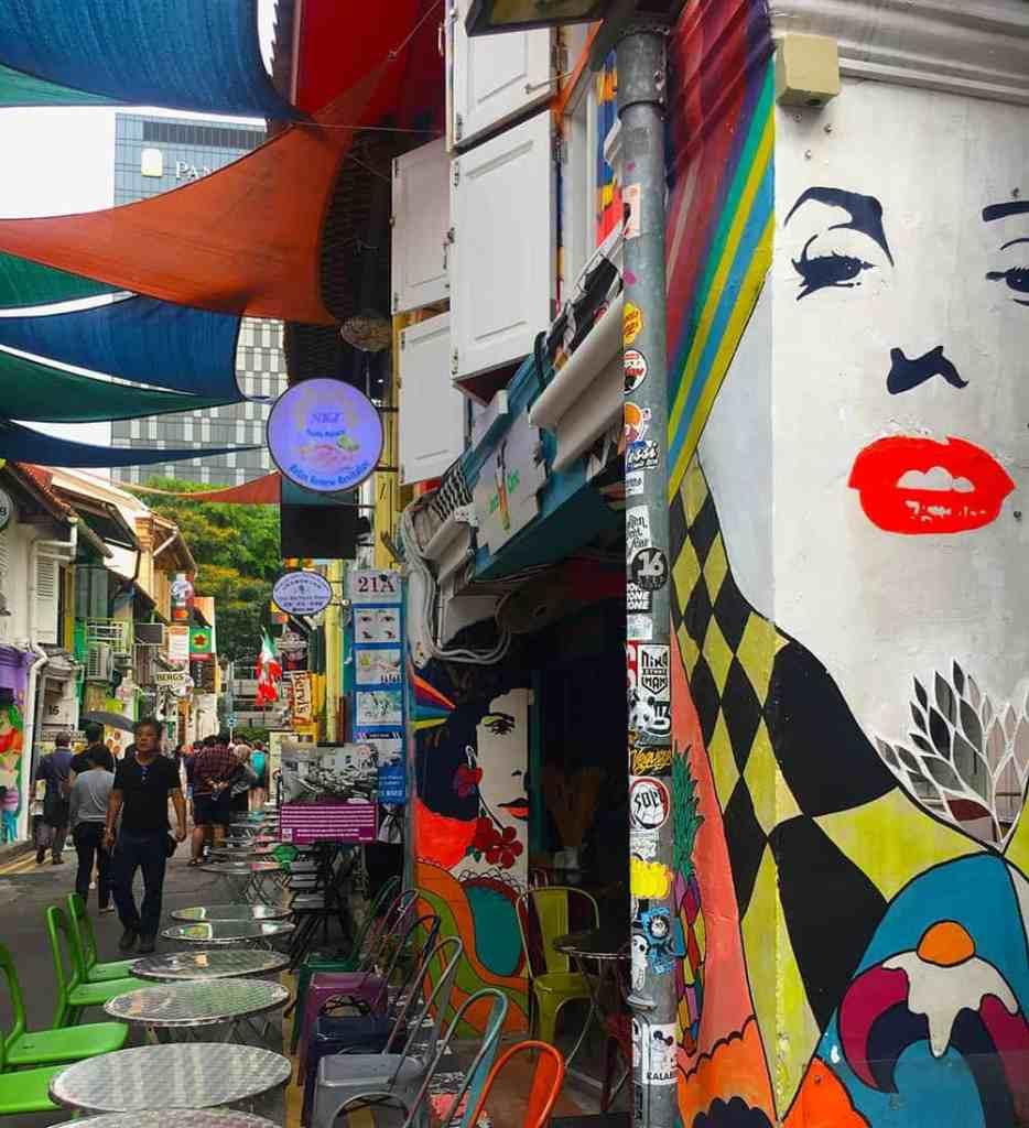 Marilyn Monroe mural on a cafe in Haji Lane